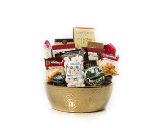 "#Gifts #Gift Baskets #Baskets #Gourmet #Mother's Day; our ""High Tea & Biscuits"" available in a Silver large Ceramic bowl as well, nice gift for tea lovers or a light snack with cookies, teas, jam and gourmet biscuits"