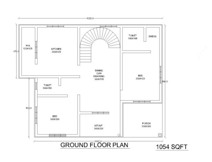 1000 Square Feet 2 Bedroom Kerala Low Budget Home Design And Plan House Plans Apartment Plans Renting A House Home plan kerala low budget