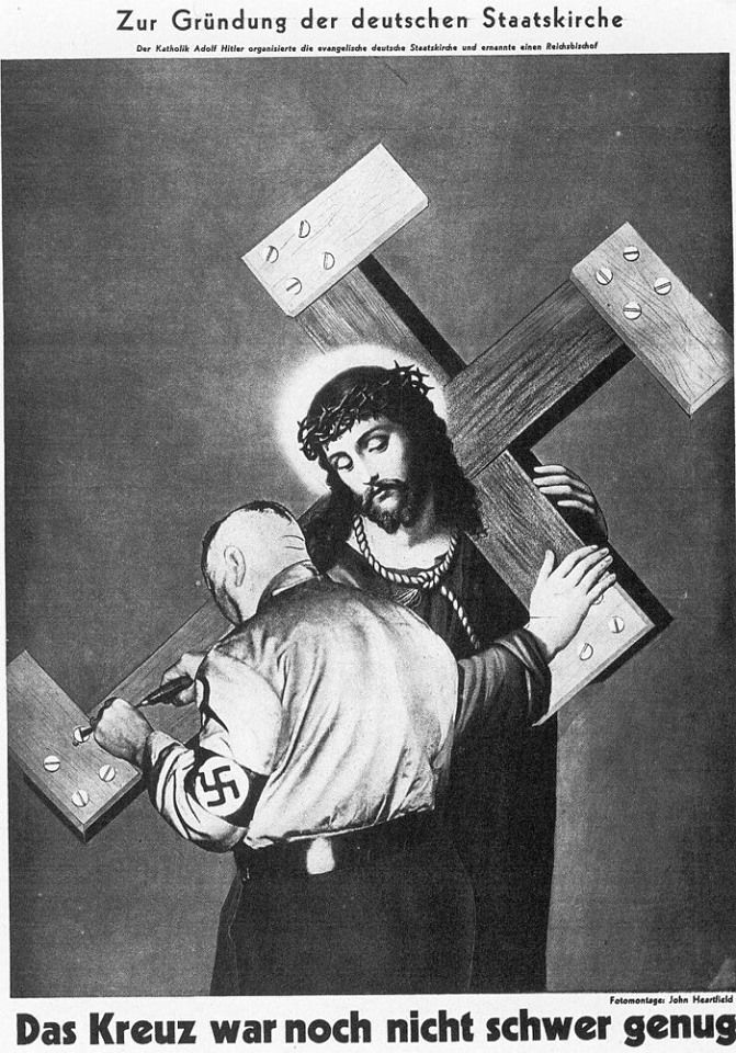 The Cross Was Not Heavy Enough.John Heartfield (born Helmut Herzfeld; 19 June 1891 – 26 April 1968) was an artist and a pioneer in the use of art as a political weapon.