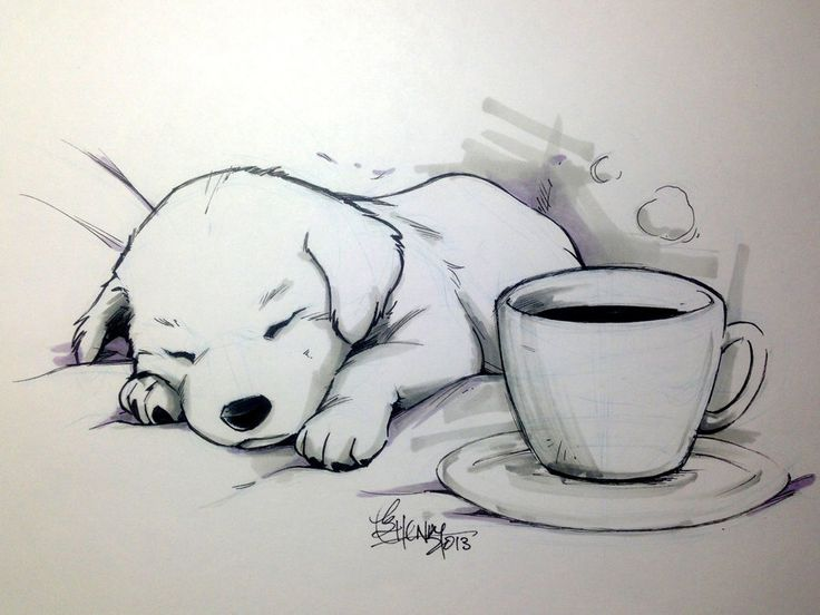 """Coffee Doggy tracerhank.deviantart.com """"No coffee can keep this little one awake."""" Line art: Sakura Micron pigma pens and Copic pigma pens. Grey tones: Chartpak alcohol markers."""