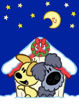 Woezel en Pip onder de kerstkrans.