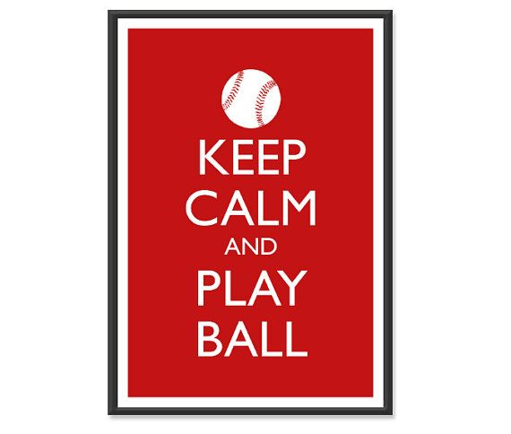 Baseball Poster  Keep Calm and Carry On Poster  by happylandings, $10.00
