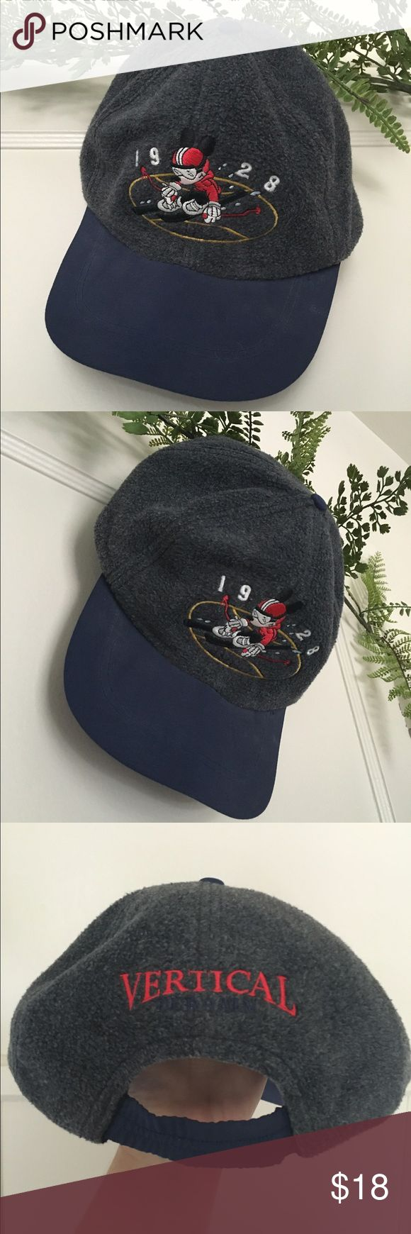 Vintage Mickey Mouse Baseball Cap Vintage unisex Mickey Mouse baseball cap from early 90s. Navy blue bill and dark grey cap, there is no tag or size label but best fits a M/L size for caps. Accessories Hats