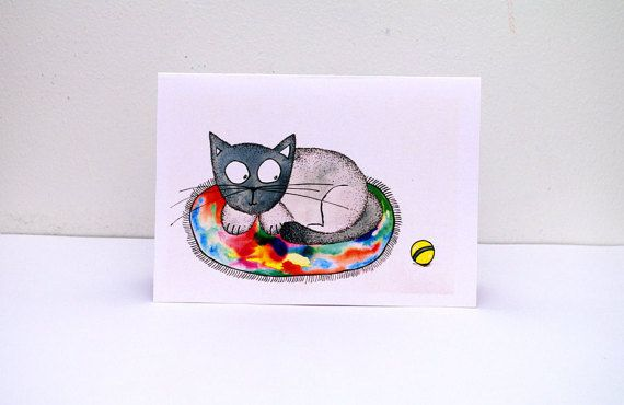 Happy birthday CARD funny - CAT greeting card - Birthday Card From Cat - Happy birthday art card - Card From Pet - Cat Lover Art Card