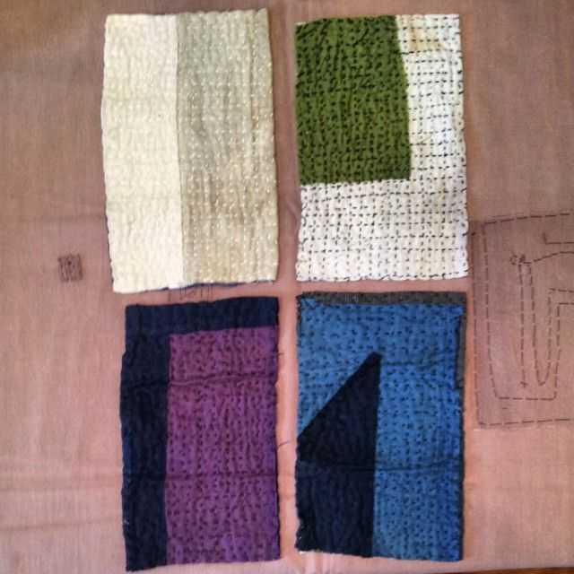 Four amazing #sashiko stitched zokin or traditional cleaning rags.