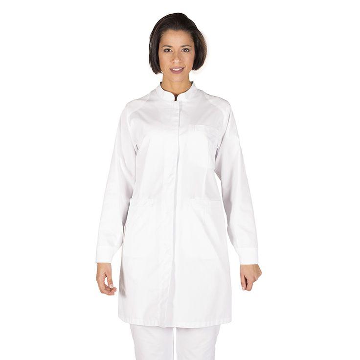 6077 - bata de sanidad para mujer Julia, en manga larga, botones a presión ocultos y en color blanco #medico #enfermera #doctor #hospital #batasanidad #batalaboratorio #batafarmacia