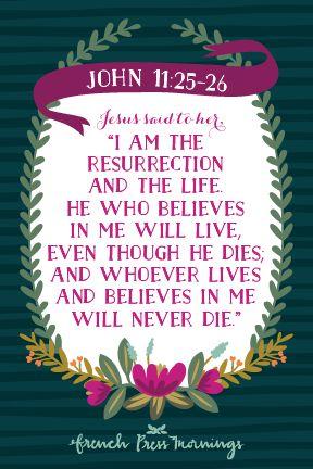 Encouraging Wednesdays Easter Print ... John 11:25-26 - French Press Mornings