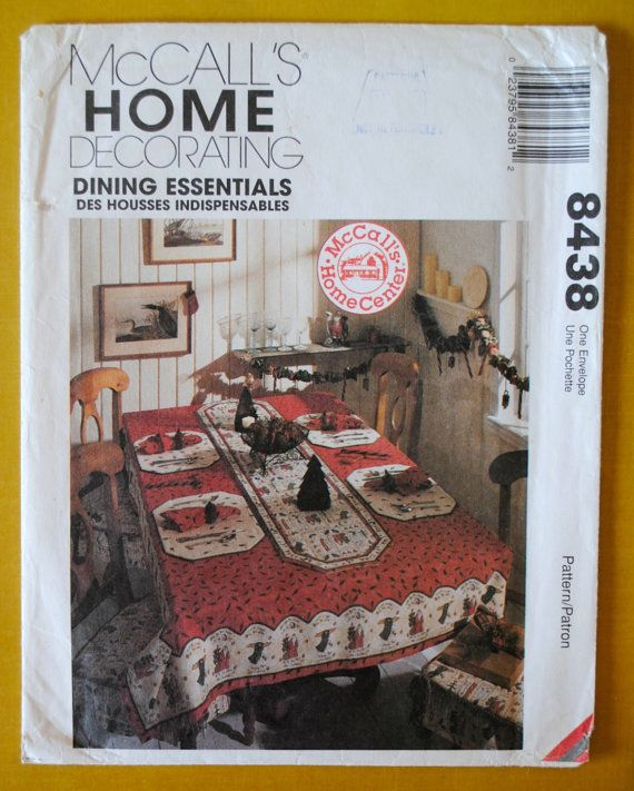 Uncut vintage 1990s mccalls home decor 8438 tablecloth for Home decor 1990s