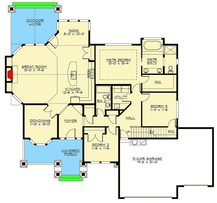 Plan 23382jd rambler with 3 car garage architectural for Rambler house plans with bonus room