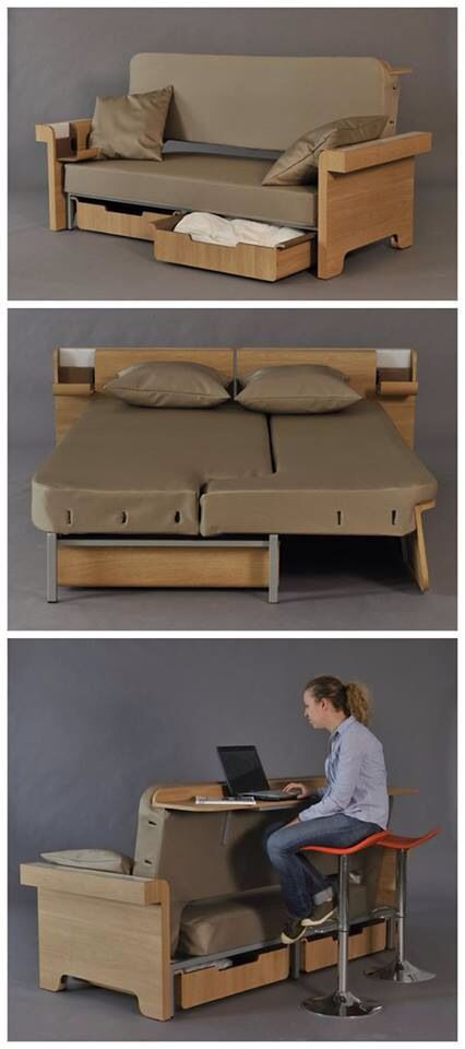 3 in 1 multifunctional furniture by Fanny Adam // how awesome would this be for a small vacation home or dorm room?! Wish I had a need for this.