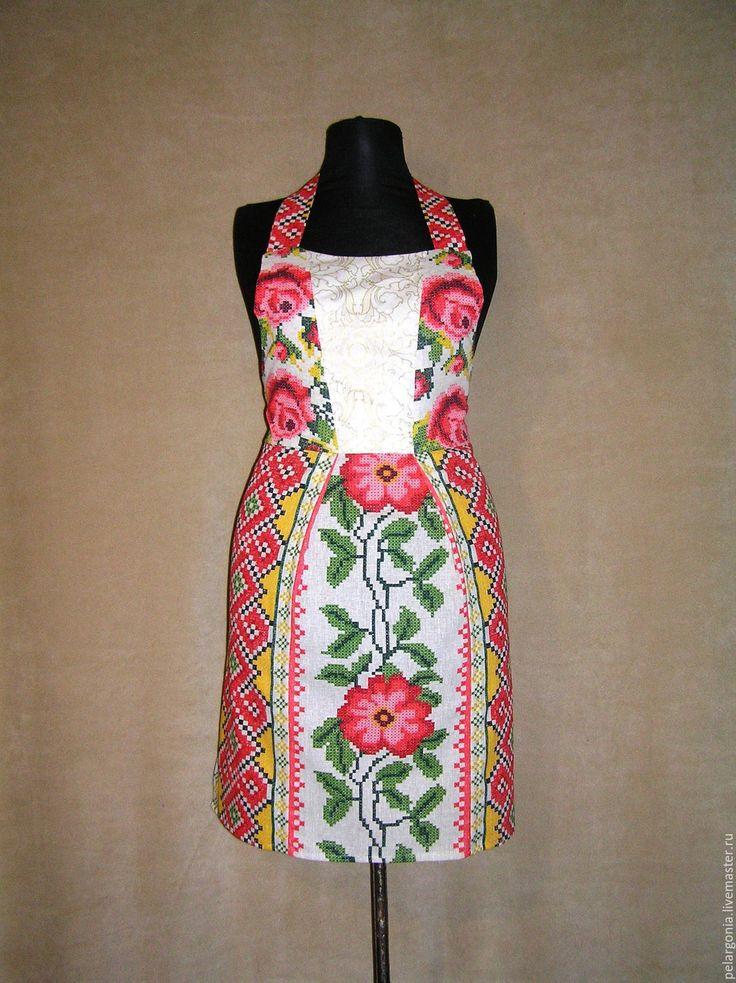 """Купить Фартук женский """"Народная вышивка""""(народная одежда,русский стиль) - женский фартук, народный стиль"""