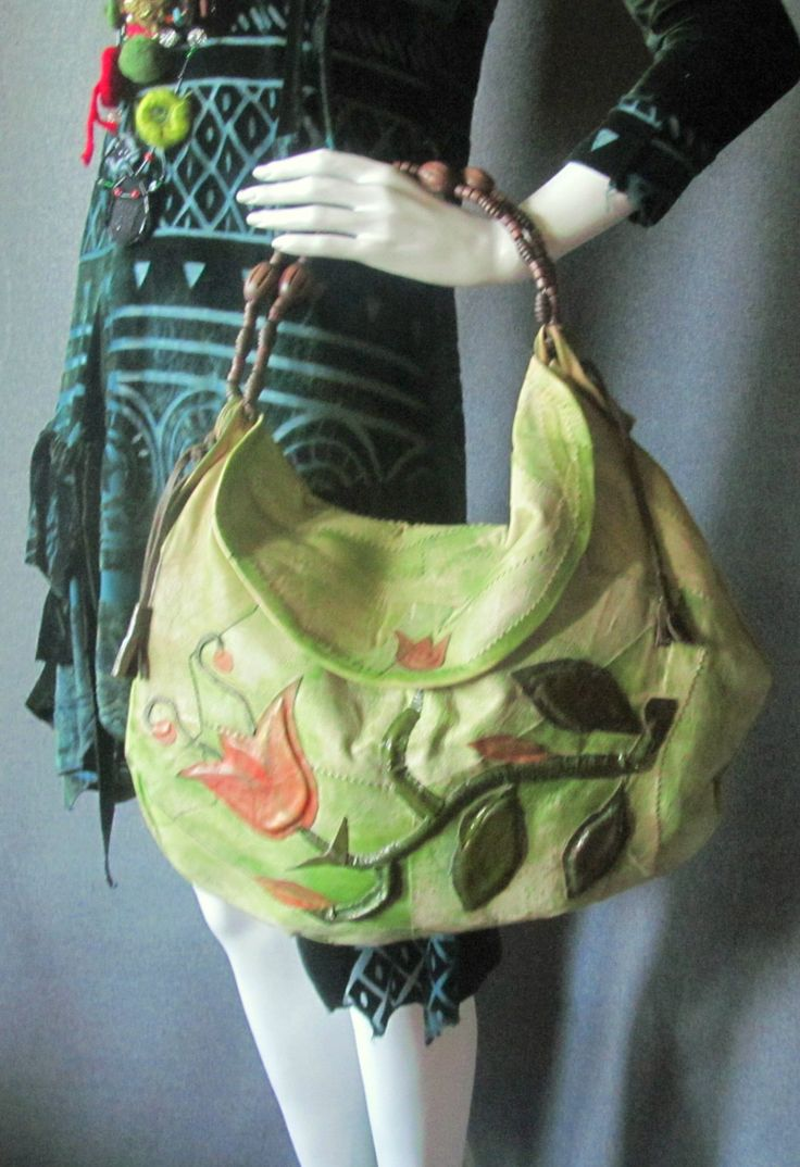 Handbag with natural leather, aplications with leather, handmade, unique, peady to ship by Andruszkiewicz on Etsy