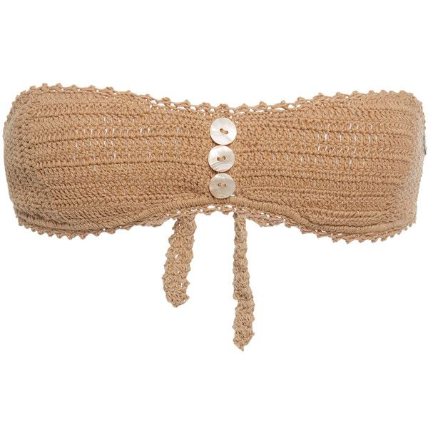 She Made Me Sita Bandeau Bikini Top (£92) ❤ liked on Polyvore featuring swimwear, bikinis, bikini tops, neutral, crochet bandeau top, macrame bikini top, she made me bikini, crochet bikini top and bandeau tops