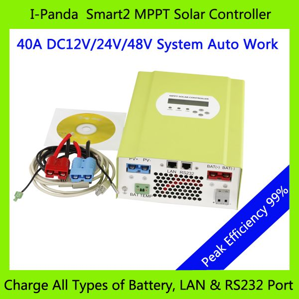 CE RoHS MPPT solar charge controller 48V 40A 12V 24V 48V auto work with RS232 Lan DC load Ctrl, 40A 48V PV regulator easy