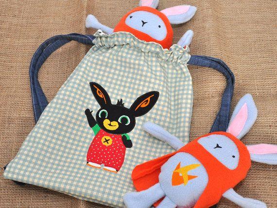 Handmade Bing Bunny Drawstring Bag Cbeebies by MamaHouseLondon
