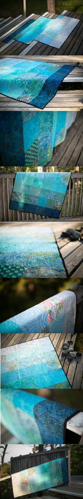 Modern Quilts Throw Size Quilt Handmade Quilt by btaylorquilts