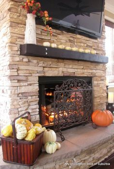 indoor propane fireplace vent free stacked stone finish high ceiling - Google Search