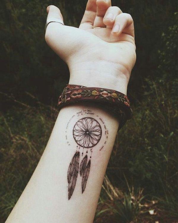 Tatuagem Filtro dos Sonhos no Pulso |