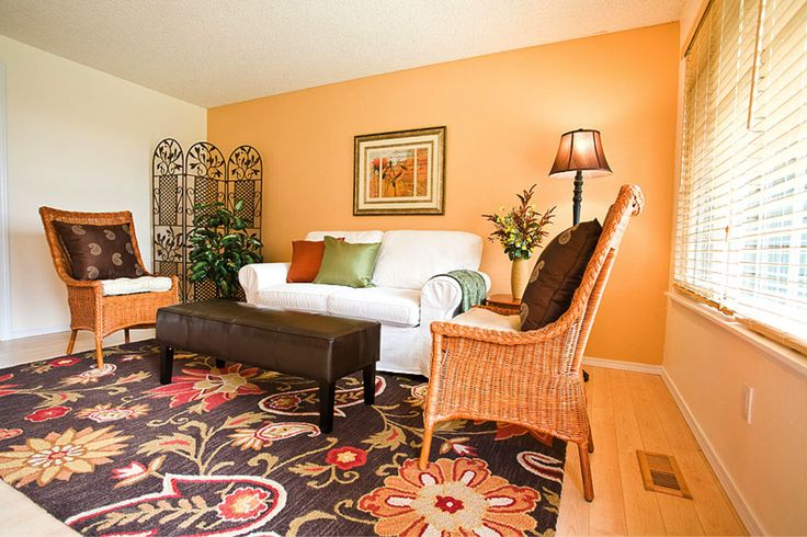 lovely orange brown living room walls   67 best Living room with brown coach images on Pinterest ...