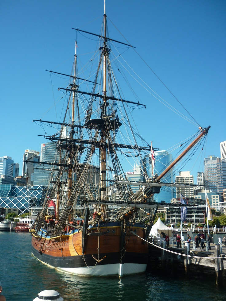 The replica HMB ENDEAVOUR, an exact working rebuild of the original ship sailed by Captain James Cook to discover New Zealand and Australia's east coast. Built in Western Australia, this is taken at it's home port at the Australian National Maritime Museum, Darling Harbour, Sydney. 8 August 2010, C: M.R.Miller.
