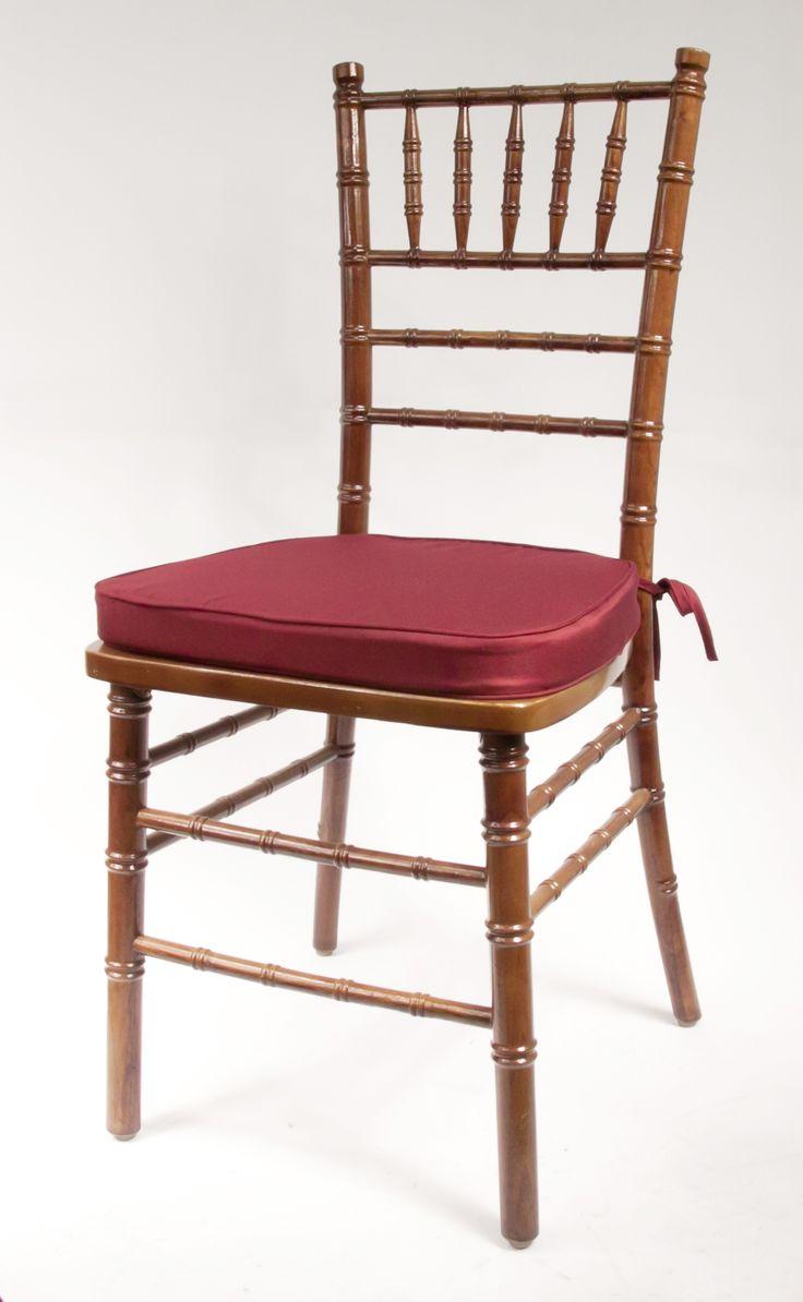 Vision Furniture Brand Walnut Chiavari Chair Frame Featuring A Burgundy  Cushion.