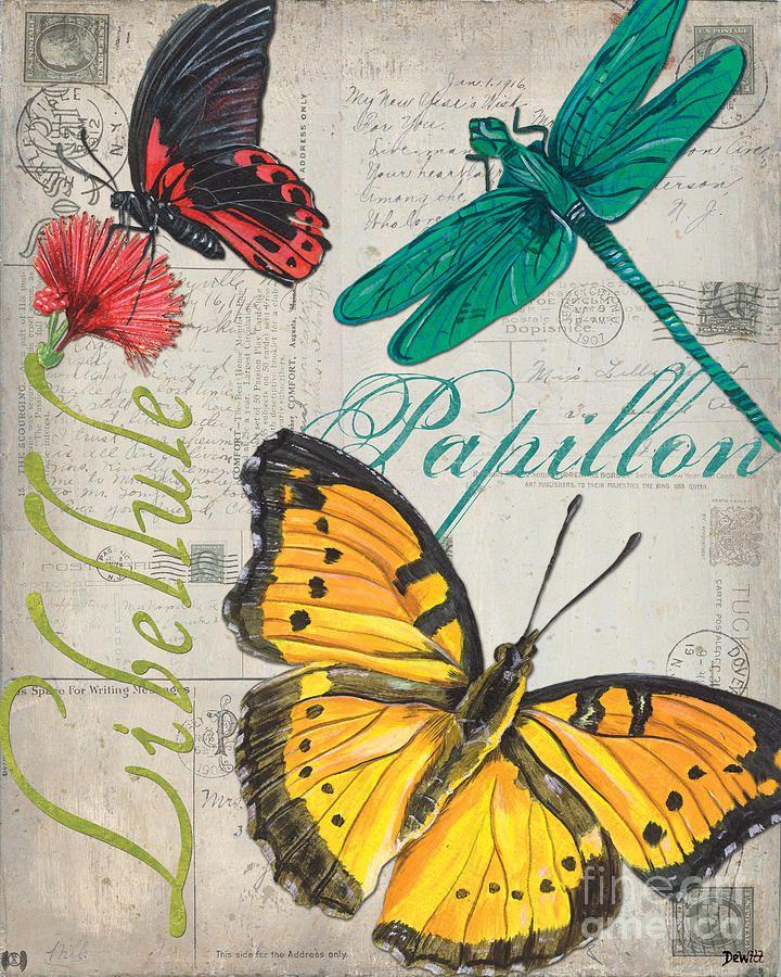 Grey Postcard Butterflies 3 Painting  - Grey Postcard Butterflies 3 Fine Art Print