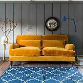 Velvet Sofa - Mustard Three Seater
