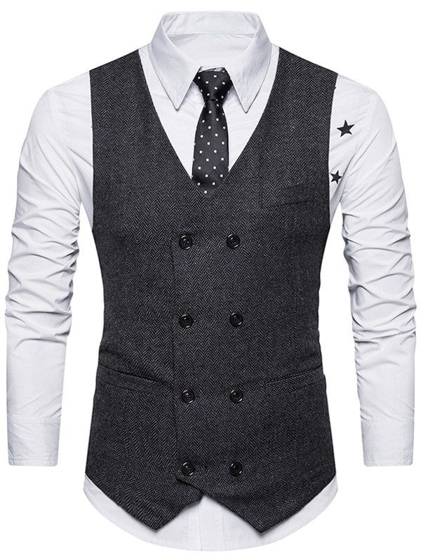 265a66b7a4e V Neck Double Breasted Belt Design Waistcoat in 2019