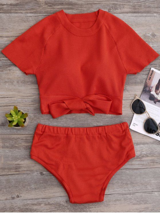 Knitted Bikini Crop Top and Bottoms