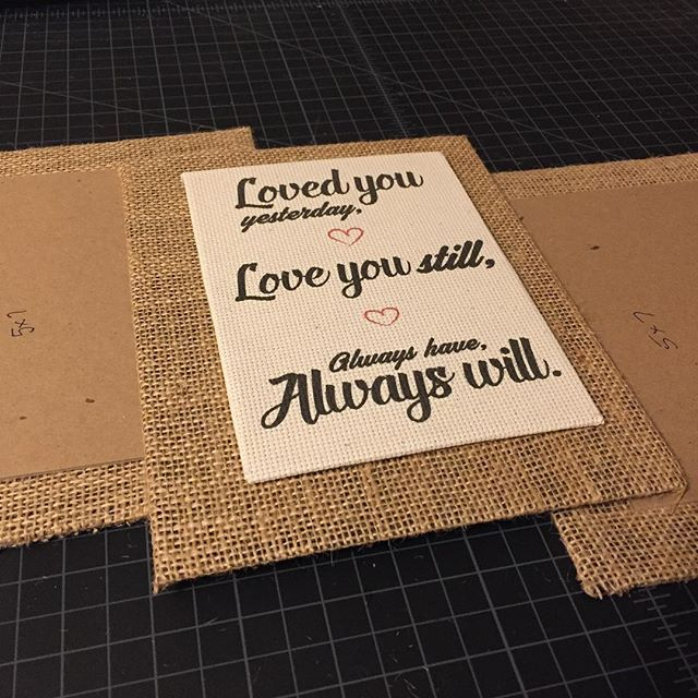 Working on another custom order for a pallet picture frame. This one has 2 5x7 photos and will hold the couple's wedding photos. In the center a beautiful cross stitch fabric print with their custom text; Loved you yesterday, love you still, always have, always will ❤️ ohhh to be young and in love... 💕 #pictureframes #palletframe #weddingframe  Reclaimed Wood Picture Frames