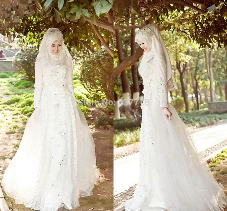 Arabic Muslim Wedding Dresses 2015 Weddings & Events Beaded Long Sleeves A line Abaya Muslim Wedding Dress Plus Size Bridal Gown