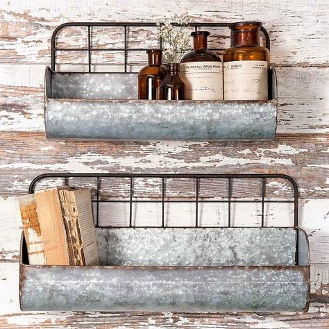 Rustic Industrial Wire Back Wall Planters – Set of Two