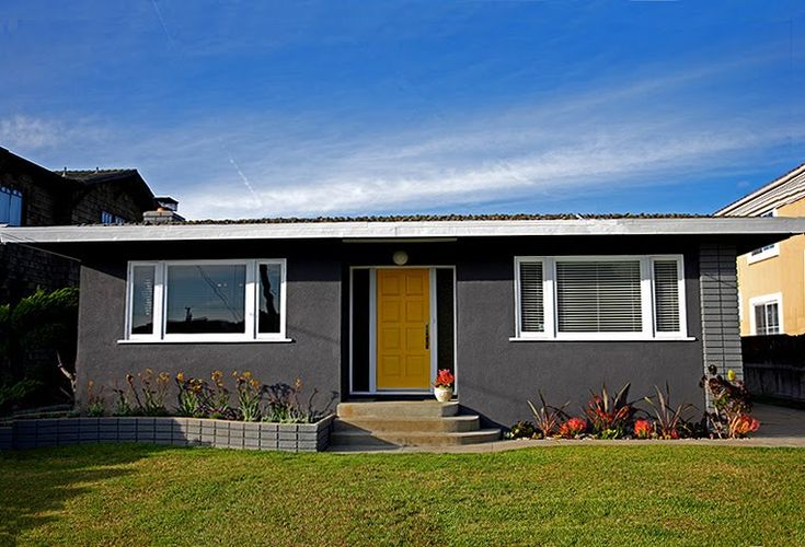 Dark gray exterior with yellow door outdoors pinterest for Exterior yellow house paint