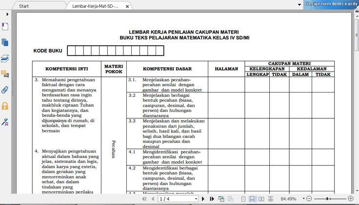 Download Lembar Kerja Penilaian Cakupan Materi Mata Pelajaran Matematika Kelas IV Tahun 2016 Format PDF