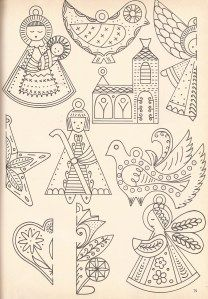 Creche patterns for tin and embroidery.