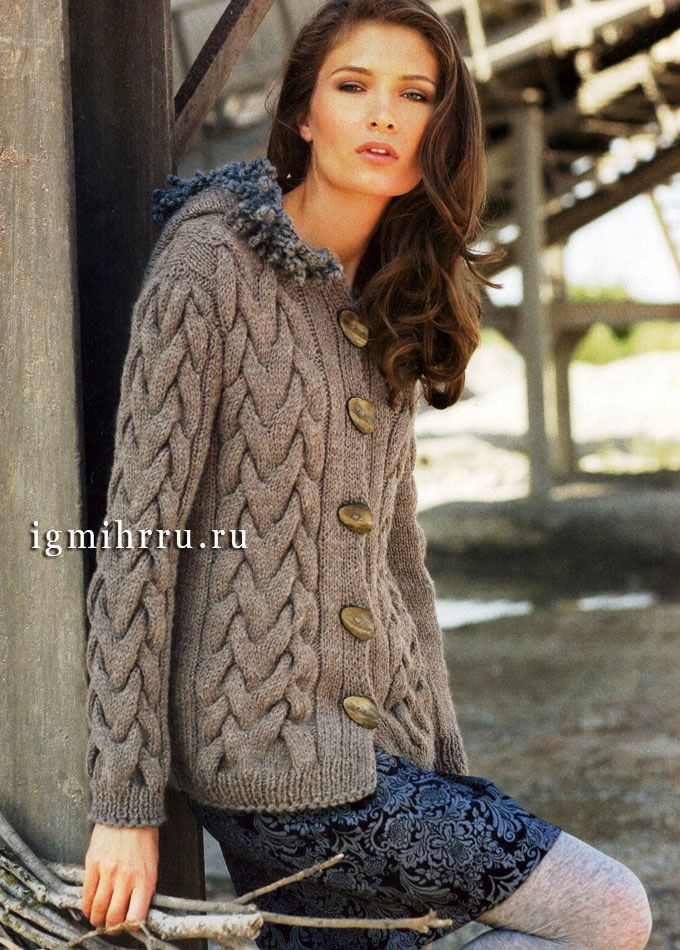 Warm gray jacket with large braids. Pattern is in Russian - use Google Chrome to translate