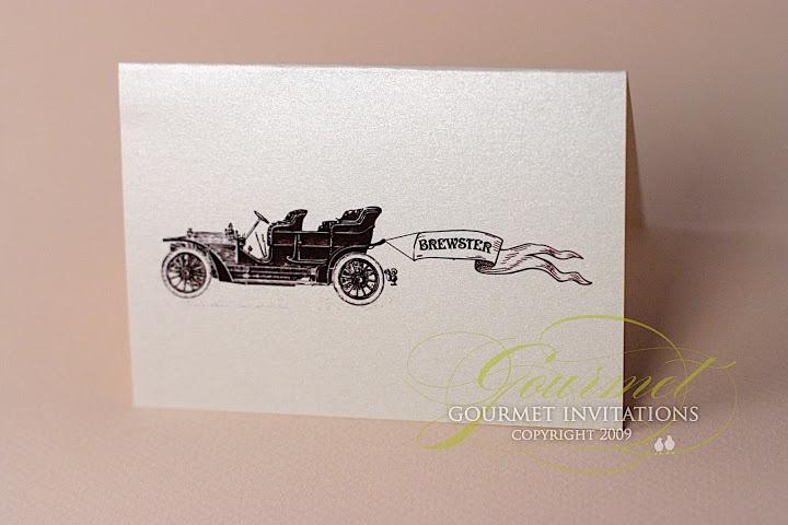 Vintage Car wedding invitations