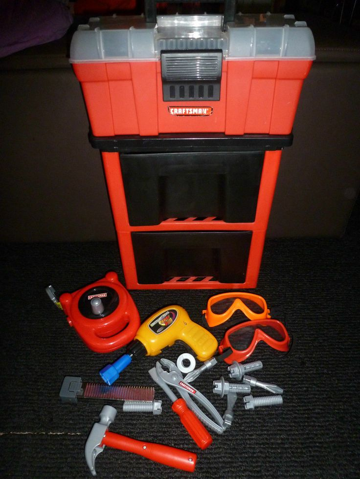 My First Craftsman Deluxe Rolling Tool Box Set For Kids W