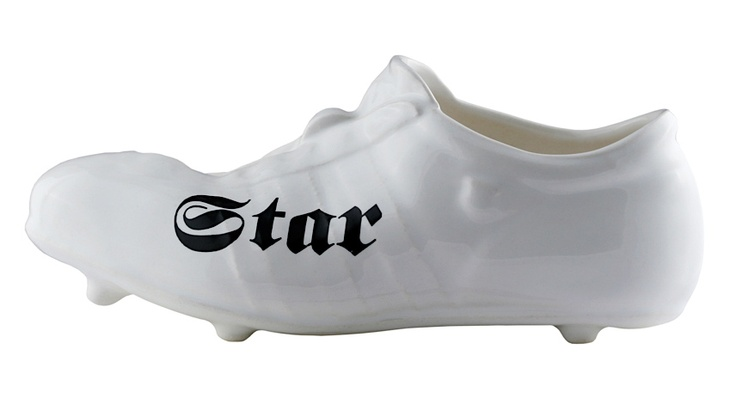 Porcelain soccer shoe by Kuehn Keramik at Seattle's far4 boutique