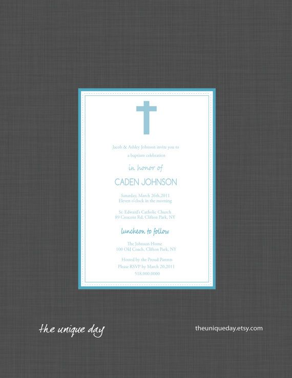 Custom Personalized First Communion or Baptism (Boy or Girl) Invitation Card (Digital Print Your Own) on Etsy, $12.00