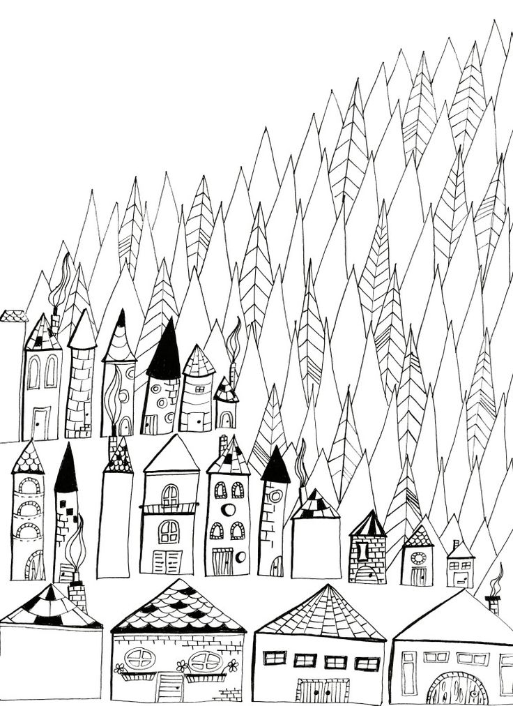 Coloring sheet Village Make Stuff Art Colouring