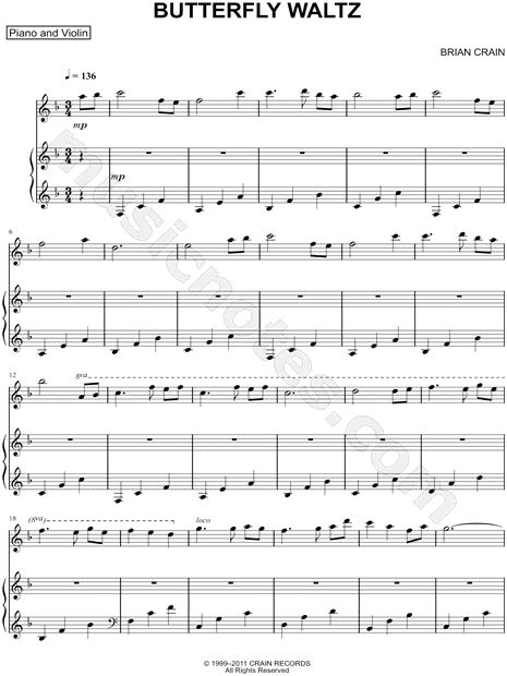 Erfly Waltz Piano And Violin Duet Sheet Music By Brian Crain