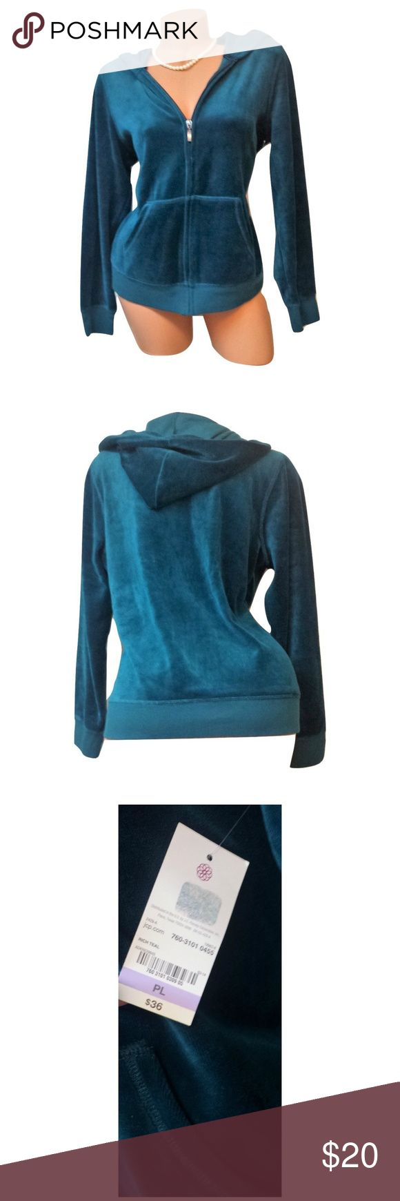 """Womens Teal Long Sleeve Zip Up Hooded Hoodie Coat Includes: 1x Made For Life Hoodie  Condition: NWT *MSRP $36  Size: Petites Large / Or Regular Medium  Color: Teal {Blue/Green}  Sleeve Style: Long Sleeves  Design Features: Zip Up / 2x Pockets / Hooded  Length: 24""""  Bust (armpit to armpit): 19""""  Inseam (armpit to bottom hem): 14""""  Material: 80% Cotton 20% Polyester Made For Life Jackets & Coats"""