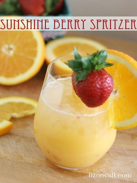 Sunshine berry spritzer non alcoholic beverage (lizoncall.com) #party #punch #brunch #drink