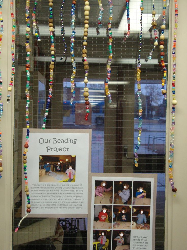 On-going beading project with documentation-- this is a pretty cool idea-- offer this as a choice maybe 1-2 times a week and hang in the window. Change up the kind of beads.