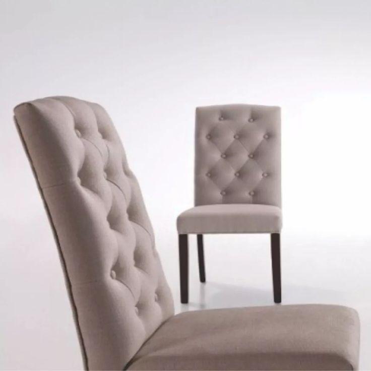 silla capitone tapizada pana living comedor diqua muebles