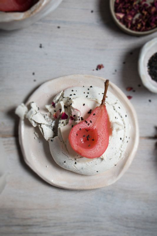 black sesame meringue nests with hibiscus poached pears-1-27 v