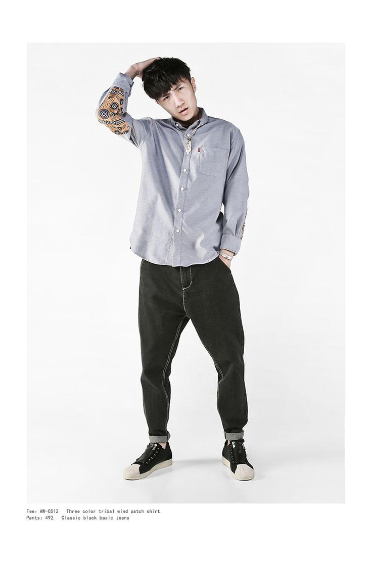 BJHG четыре сезона Джокер Европа и Соединенные племена ветра патч сплайсинга хлопок ткань Шамбре с длинным рукавом рубашка стиль молодежные рубашки-Таобао