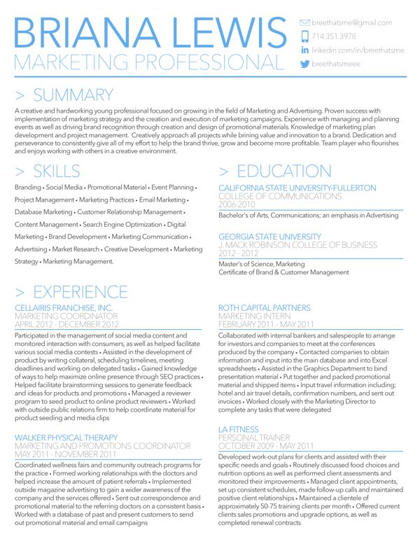 Briana Lewis' Resume by Briana Lewis, via Behance