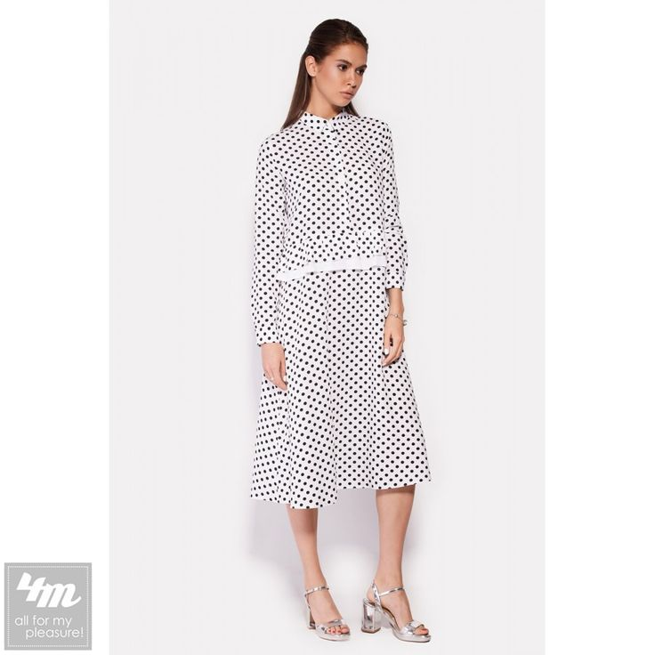 4bc18b469b5 Платье монсун белое в черный горох - Модадром